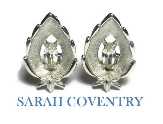 Sarah Coventry earrings,  1960s 'crystal navette', marquise cut rhinestone crystal center, leaf shape, silver clip earrings