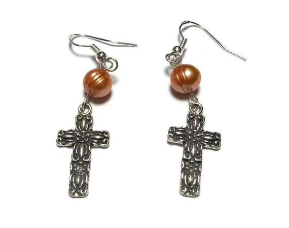 Sterling cross earrings, handmade sterling silver cross and a peach cultured pearl on sterling french hooks, cross pierced dangle earrings.