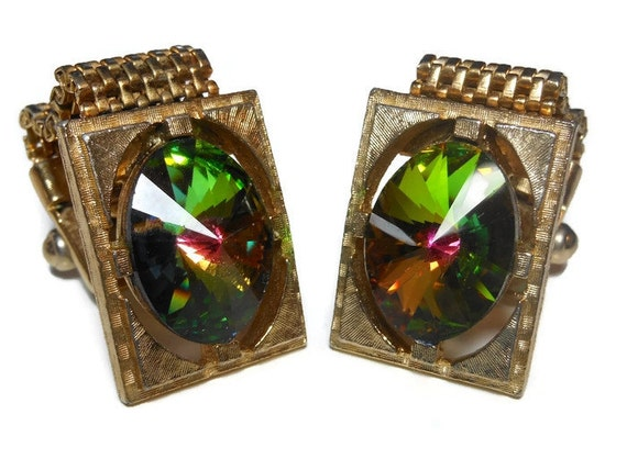 Watermelon rivoli cuff links, gold mesh rectangular wrap style, Swarovski crystal green and pink stone vintage