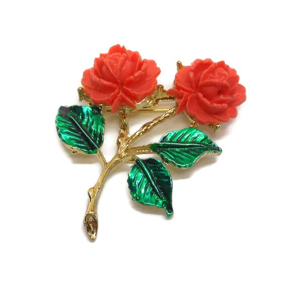 Coral rose brooch, enamel coral roses, enamel, gold tone stem with green enamel leaves, orange pin 1960's