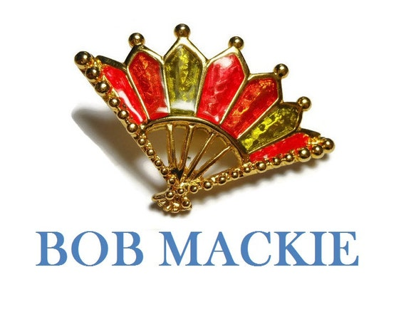 Bob Mackie fan brooch, red, green and orange enamel fan, gold plated, designer to the stars