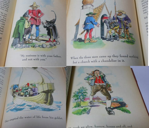 Grimms' Fairy Tales Illustrated by Fritz Kredel, 1945 first edition thus, Grosset Dunlap, full color illustrations clean tight