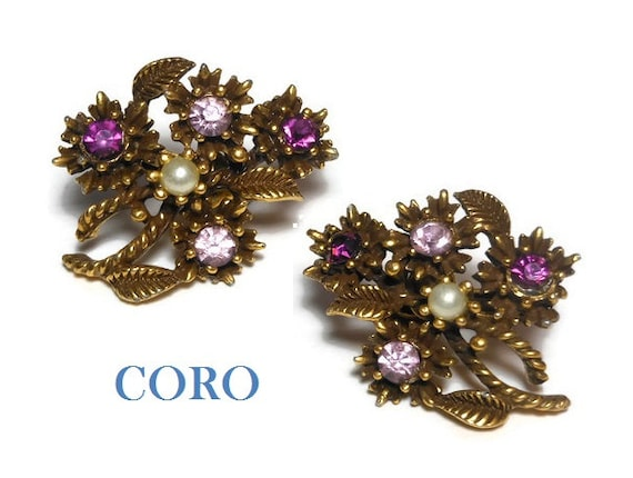 Coro floral earrings, light and dark colored amethyst rhinestone and white seed pearl flower bouquet clip-on 1950s, show stoppers, gold tone