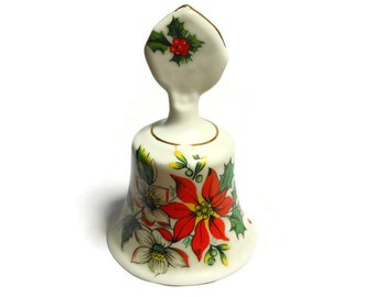Royal Kendall fine bone china Christmas poinsettia holiday bell made in England.