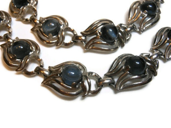 Smoky Grey Blue Moonstone  Art Nouveau Necklace Bracelet set in silvertone setting