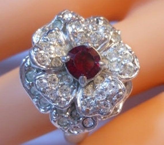 Erwin Pearl Cocktail ring pave clear rhinestones and pronged faceted ruby rhinestone size 8