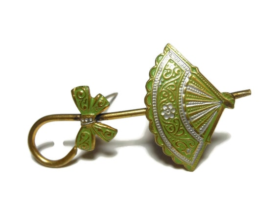 Damascene umbrella brooch, Toledo ware green enamel over gold  pin, parasol with bow, mid century, marked Spain under clasp, tourist item