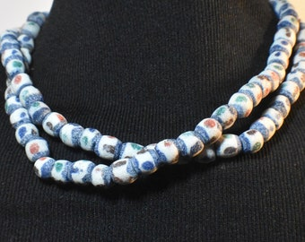 """African Ghana necklace or waist beads, vintage sandcast glass trade bead necklace, 39"""" long, blue edging red green brown blue dots on white"""