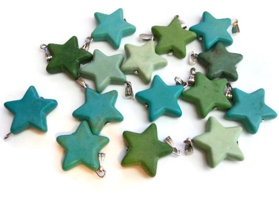 Instant jewelry star pendant, lot of 3 blue green stars, silver bail, natural gemstone, 22mm X 20mm, add to chain, charm bracelet, key ring