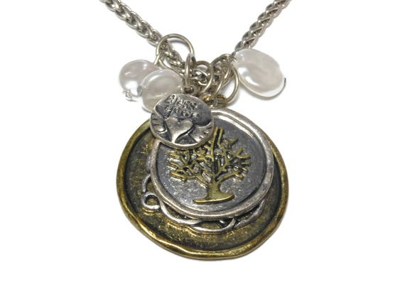 Tree of life charm necklace, bronze silver Love pendant, antiqued bronze, bless your heart drop, mother of pearl beads