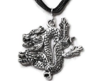 Silver dragon pendant necklace, Tibetan silver handmade unisex black corded, unisex necklace, D & D, fantasy