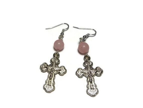 Orthodox Crucifix Earrings, handmade Russian Orthodox silver plated with rose quartz beads, cross pierced dangle earrings.