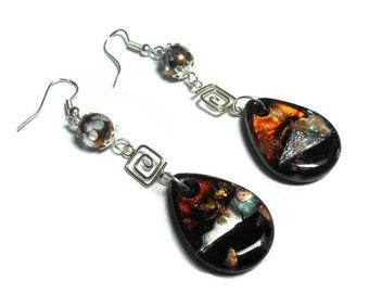 Lampwork sterling earrings, sterling silver drop pierced earrings, glass teardrop Czech fire polished cathedral faceted glass., handmade