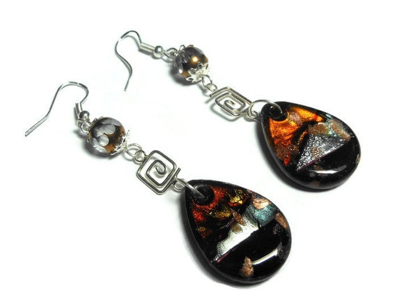Lampwork sterling earrings, sterling silver drop pierced earrings, glass teardrop Czech fire polished cathedral faceted glass.