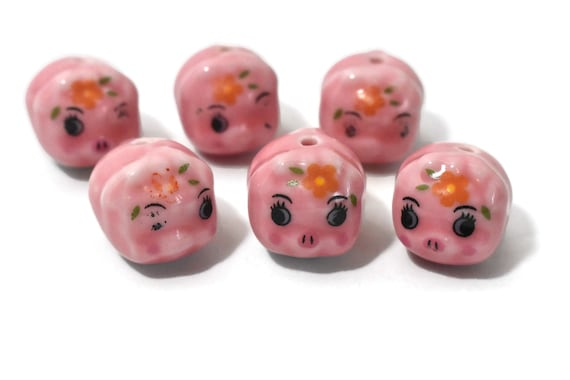 Porcelain pig beads, 6 piece lot, pink piggy figurine beads, ceramic Kawaii beads, two matching 4 missing varying degrees of paint