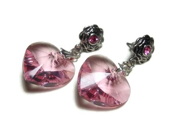 Swarovski heart earrings, silver plated hearts, faceted crystal dangle, floral rhinestone post, Valentine's Day, bride pink heart
