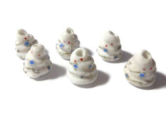 """Porcelain white snake beads, 6 piece ceramic lot, Kawaii small animal, Chinese Legend of the White Snake,  """"White Lady"""" or """"White Maiden"""""""