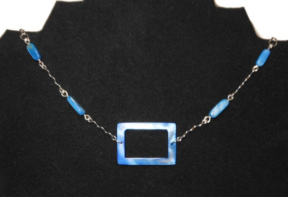 denim blue MOP necklace, mother of pearl choker, rectangular center piece, pearl beads & wavy connectors, metals silver plated