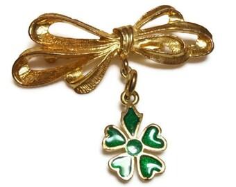 Bow charm brooch with shamrock charm, bar pin, St. Patricks Day pin