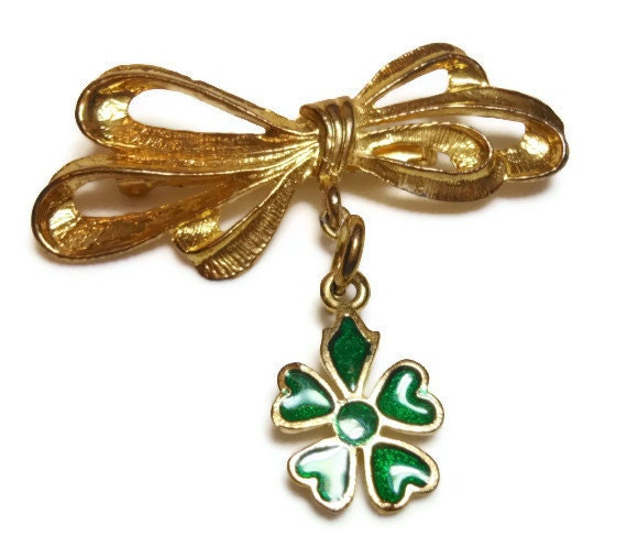 Bow charm brooch with shamrock charm, bar pin, St. Patricks Day pin