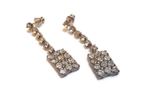 Rhinestone drop earrings, Art Deco prong set post earrings, silver plated