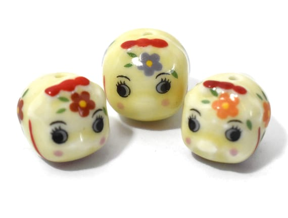 Porcelain pig beads, 3 piece lot, yellow piggy figurines, ceramic Kawaii beads, larger has purple flowers and smaller red and orange flower