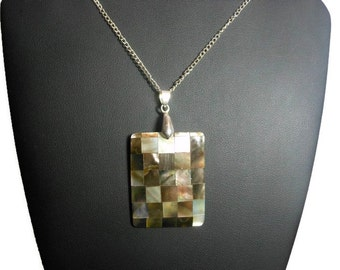 Checkered pendant necklace, black lip mother of pearl shell and resin drop, silver plated delicate chain & bail, beach wear, handmade