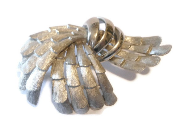 Large BSK signed brushed textured layered brooch silver plate.