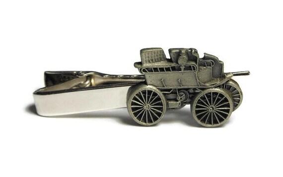 Wagon tie clip - buggy pewter tie clasp on silver tone tie clasp clip