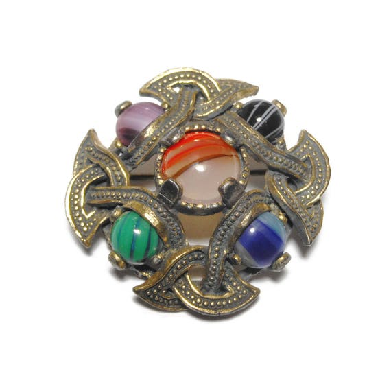 Miracle Celtic brooch, Celtic kilt pin, Irish wedding brooch, agate gemstone fibula, Scottish Celtic cross, antiqued gold tone