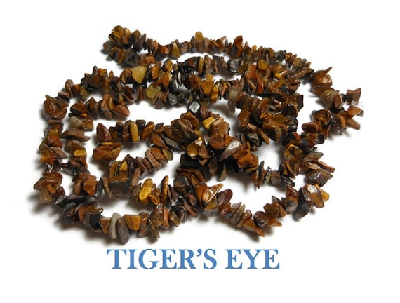 Tiger's eye necklace, medium chip beads, natural semi-precious gemstone, 35 inch strand, chips from small to extra-large, average medium