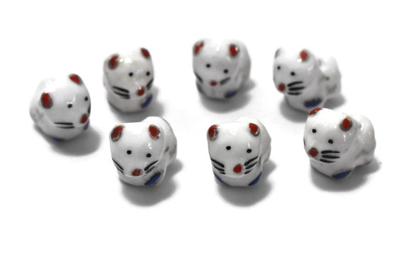 Porcelain cat beads, 8 piece lot, red white and blue with gold trim, ceramic small beads, Kawaii cat beads, kitty kitten