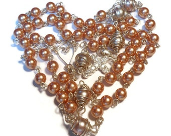 Sterling rosary beads,  sterling silver Catholic rosary, wire wrapped with Swarovski rose gold glass pearls, handmade