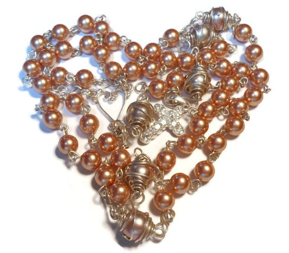 Sterling rosary beads,  sterling silver Catholic rosary, wire wrapped with Swarovski rose gold glass pearls
