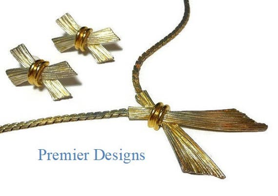 Premier Designs Necklace and Earrings Demi Parure, gold wheat sheaves chain necklace and post earrings, two tone silver gold