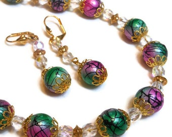 Necklace and earring set, handmade painted glass beads with Czech fire polished AB crystal and gold plate findings hand made