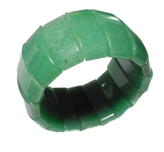 Green Aventurine bracelet carved chunky stretch vintage