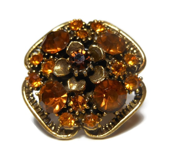 Florenza cocktail ring amber and rootbeer rhinestones with floral top, adjustable