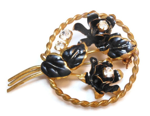 Floral circle brooch black enamel flowers with Austrian crystal rhinestones - made in Austria