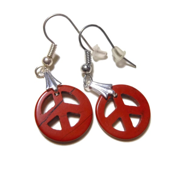 Jasper peace symbol earrings, red jasper hook earrings, silver plated pierced,  handmade OOAK, small peace sign