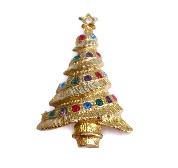 Christmas tree brooch on original card, multi colored rhinestone Holiday pin with rhinestone star topper