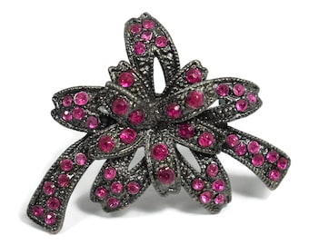 Ruby red bow brooch, rhinestone pinkish red, faux marcasite on gunmetal, layered flower floral bow, great way to decorate a package