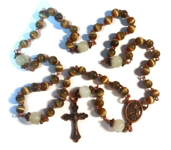 Catholic Rosary 'Reflection' Olive Cat's Eye beads, 'new jade' sea green Our Father's, copper crucifix and center piece