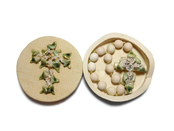 Vintage chaplet with matching handmade ceramic box, glazed ornate cross, handmade ceramic chaplet, smaller version cross