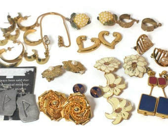 Lot of earrings, all wearable, a few may have rubbing, pitting or discoloration, I have overload and no time to list all individually