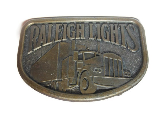 Raleigh Lights belt buckle, brass western belt buckle, antiqued look, trucker belt buckle vintage, signed RJ, 18 wheeler, cigarette ad