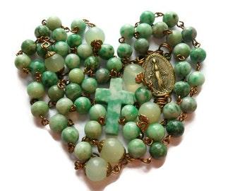 """Catholic Rosary 'The Inner Light' Ching Hai """"jade"""" & tree agate beads, sea green 'new' jade Pater beads, aventurine cross, handmade"""