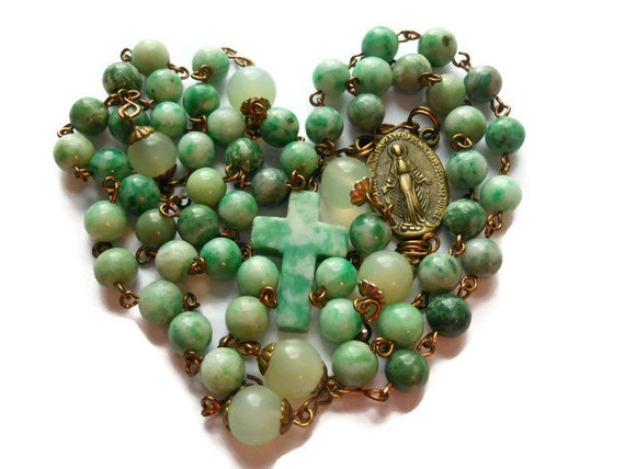 "Catholic Rosary 'The Inner Light' Ching Hai ""jade"" & tree agate beads, sea green 'new' jade Pater beads, aventurine cross"