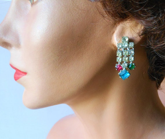 1930s rhinestone earrings, dangle screw back earrings, clear with pink, blue and green stones at end set in pot metal
