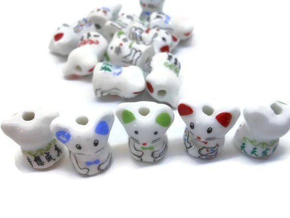 Porcelain mouse beads, 15 piece lot, black red green, ceramic small beads, animal beads, Kawaii mouse beads